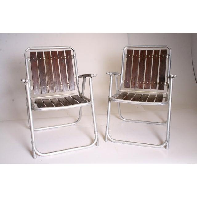 Vintage Redwood & Aluminum Folding Rocking Chairs - Set of 4 - Image 10 of 11