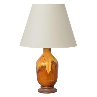 Brown + Yellow Ceramic Lamp For Sale
