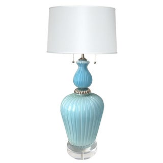Large Mid-Century Barovier & Toso Murano Light Blue Lamp