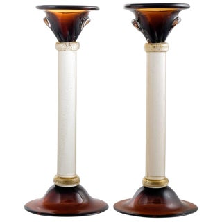 "Murano Amber & ""Avventurina"" Glass Candlesticks - a Pair For Sale"