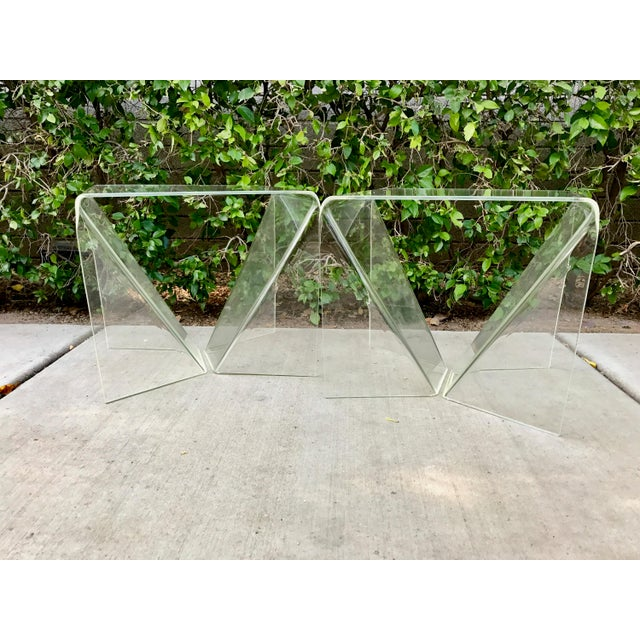 Pair Neal Small Clear Acrylic/ Lucite Origami Tables. Professionally polished. Beautiful condition with no cracks or...