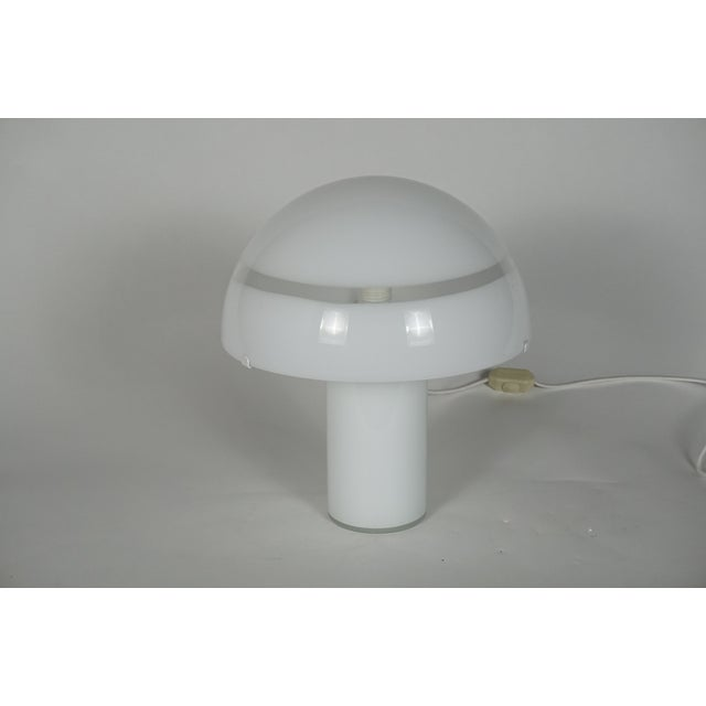 A large, white and clear, Murano glass mushroom from table lamp. This mid century modern Venetian piece creates a great...