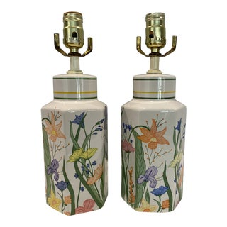 Vintage Porcelain Floral Table Lamps - a Pair For Sale