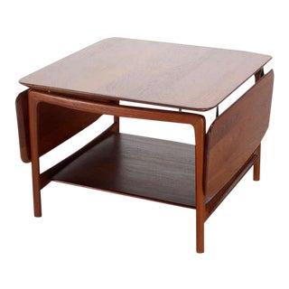 1960s Mid-Century Modern Solid Teak Drop-Leaf Coffee Table For Sale