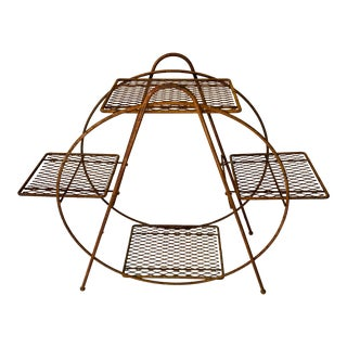 Atomic Metal Mid Century Modern Metal Plant Stand For Sale