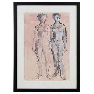 Midcentury Figural Nude Watercolor by Concetta Scaravagilone For Sale