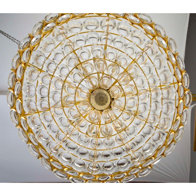 Large Circular Palwa Gilt Brass and Optical Lens Crystal Chandelier (2 Available) For Sale - Image 9 of 12