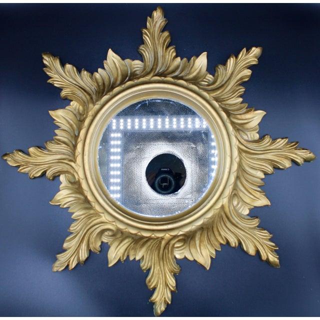 1960s Italian Gold Feather Rays Sunburst Mirror For Sale - Image 10 of 10