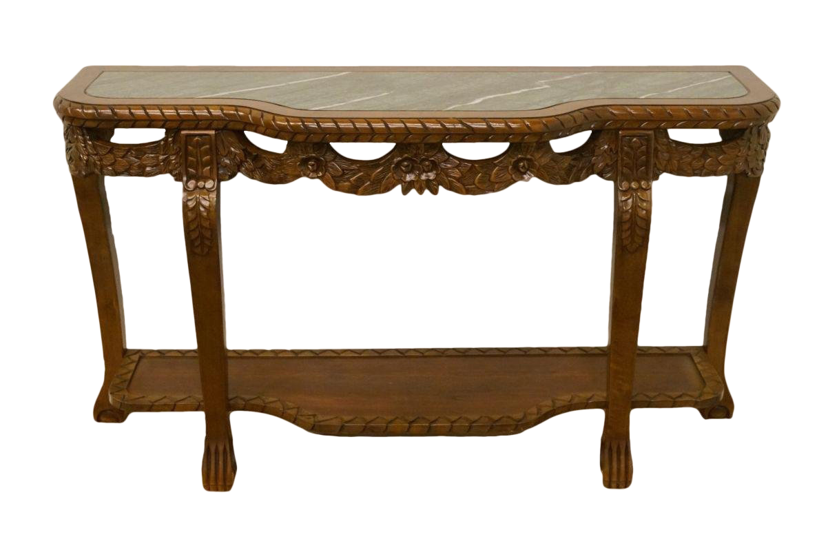 Merveilleux 20th Century Traditional Solid Cherry Ornately Carved Floral Marble Top  Sofa Table