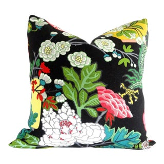 "20"" x 20"" Ebony Schumacher Chiang Mai Dragon Pillow Cover For Sale"