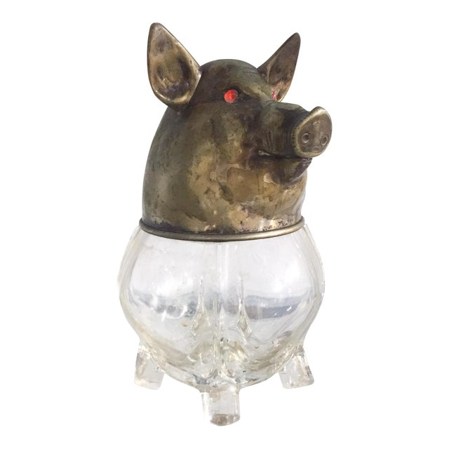 Vintage Glass and Brass Pig Head Jar - Image 1 of 10