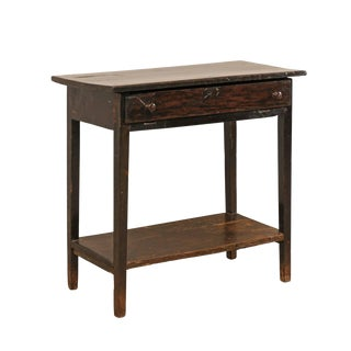 Early 19th Century Rectangular Brazilian Peroba Tropical Dark Wood Side Table For Sale