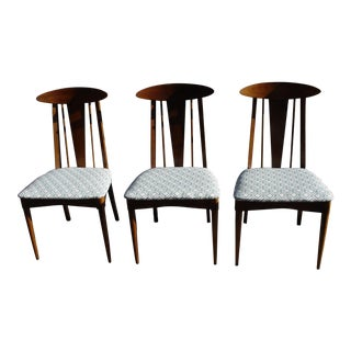 Walnut Mid-Century Modern Upholstered Dining Chairs - Set of 3 For Sale