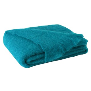 Turquoise Brushed Mohair Throw For Sale