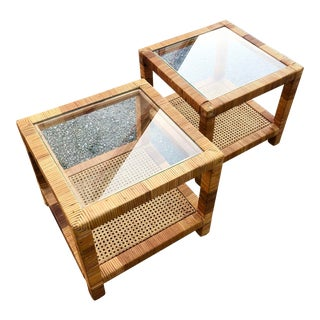 1990s Vintage Rattan Small Cocktail Tables- A Pair For Sale