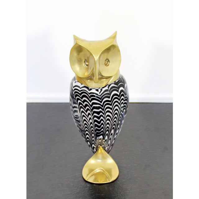 Mid-Century Modern Mid Century Modern Glass Bronze Brass Owl Table Sculpture Luca Bojola Italy For Sale - Image 3 of 11