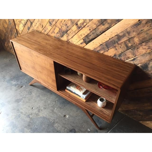Mid Century Style Custom Walnut Sculpted Base Credenza For Sale - Image 4 of 9