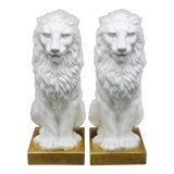 Image of Italian Mottahedeh Ceramic Mantle Lions - a Pair For Sale