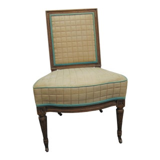 Louis XVI Style Upholstered Slipper Chair For Sale