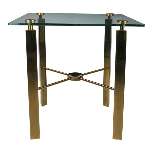 Postmodern Brass And Glass End Table - Image 1 of 6