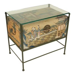 Chinese Polychrome Decorated Pigskin Occasional Table For Sale