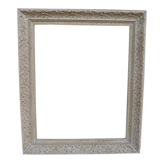 Antique Off-White Carved Picture Frame