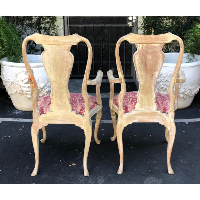 Pair of Antique George III Fortuny Designer Arm Chairs