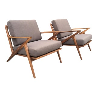 Custom Mid Century Accent Chairs - Solid Walnut
