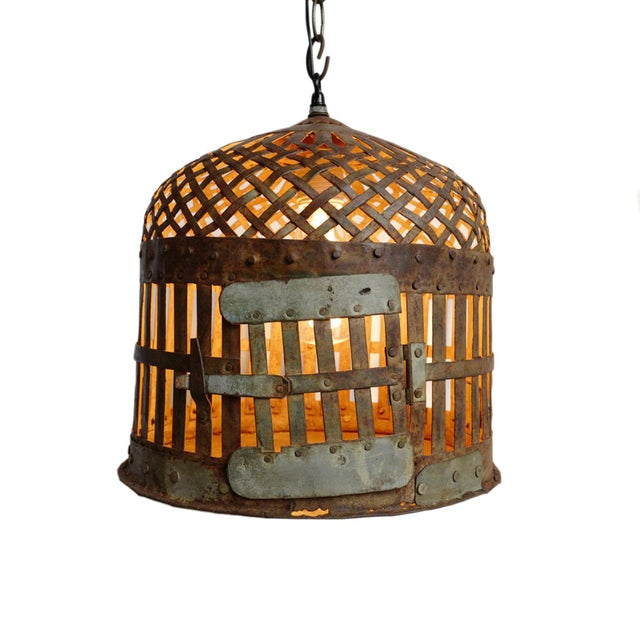 2020s Industrial Iron Basket Cage Lantern For Sale - Image 5 of 5