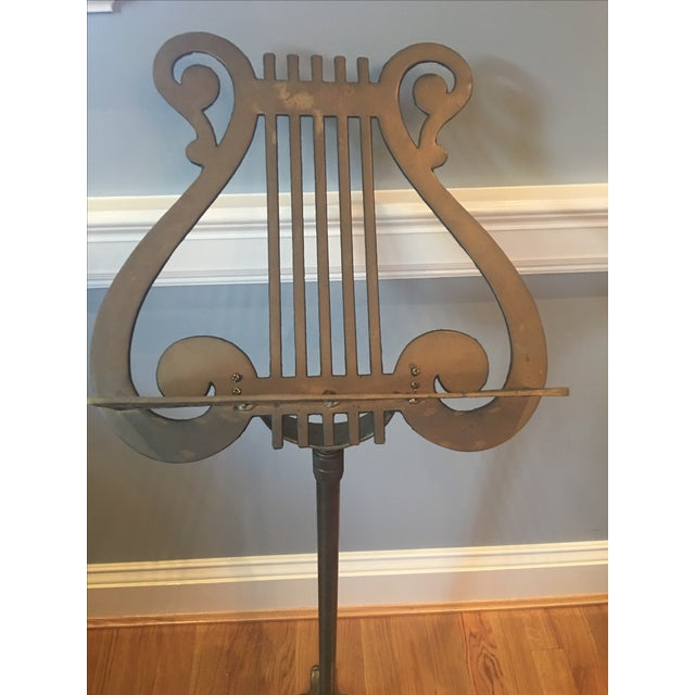 Antique Neoclassical Brass Music Stand - Image 3 of 7