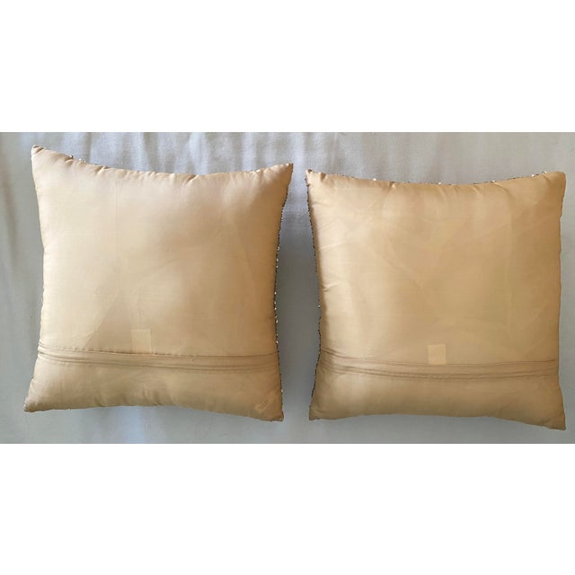 2000 - 2009 Embroidered Gold Sequined Pillows - A Pair For Sale - Image 5 of 8