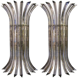 Italian Clear Murano Glass Sconces - Pair