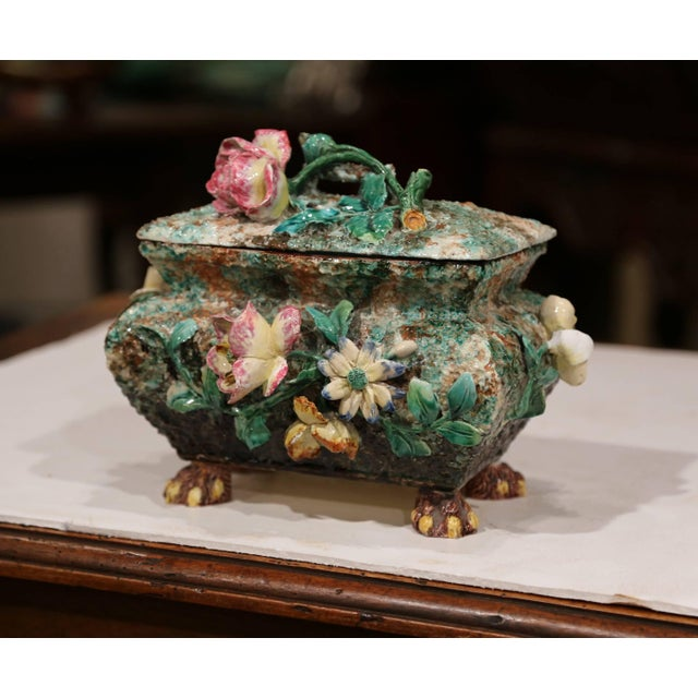 19th Century French Painted Ceramic Barbotine Decorative Box With Floral Motif For Sale - Image 11 of 11
