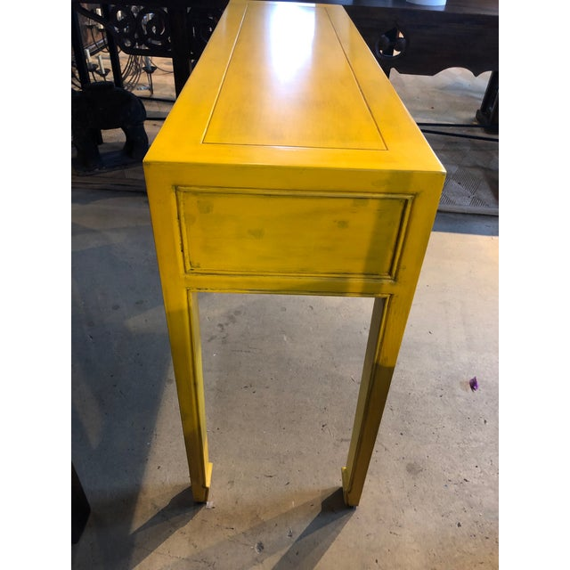 Asian Style Yellow 3-Drawer Console Table For Sale - Image 4 of 7