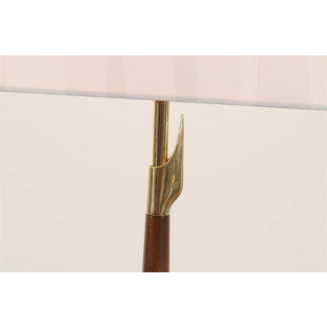 1960s Restored Pair of Elegant Rembrandt Rocket Lamps in Walnut and Brass For Sale - Image 5 of 11