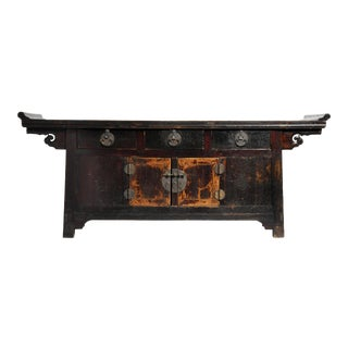 Chinese Altar Coffer With Dark Oxblood Lacquer With Original Patina For Sale