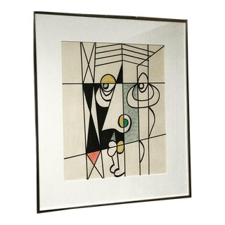 1980s Cubist Abstract Geometric Portrait Drawing For Sale