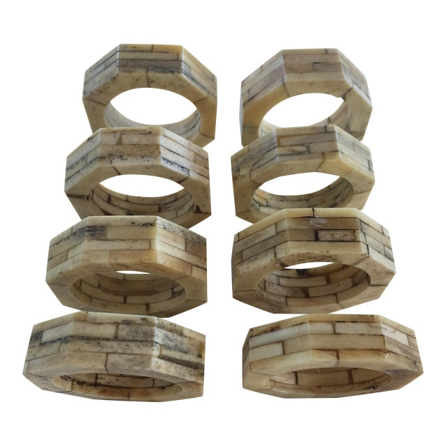 Bone Inlaid Napkin Rings - Set of 8 For Sale