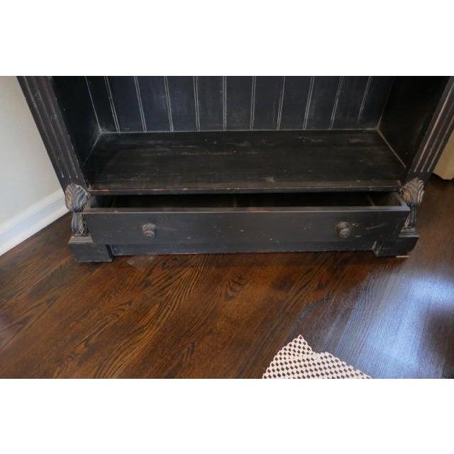 Cottage Vintage Distressed Black Bookcase For Sale - Image 3 of 4