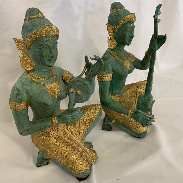Boho Chic Bronze Thai Musicians Statues - a Pair For Sale - Image 3 of 11