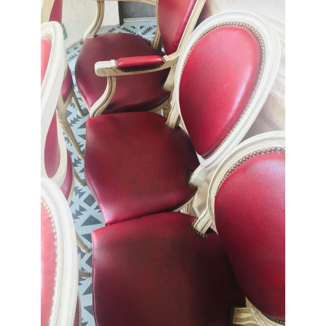 Wood Louis XVI Red Leather Oval Back Dining Chairs - Set of 6 For Sale - Image 7 of 13