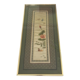 Framed Traditional Style Chinese Embroidered Textile Wall Panel For Sale