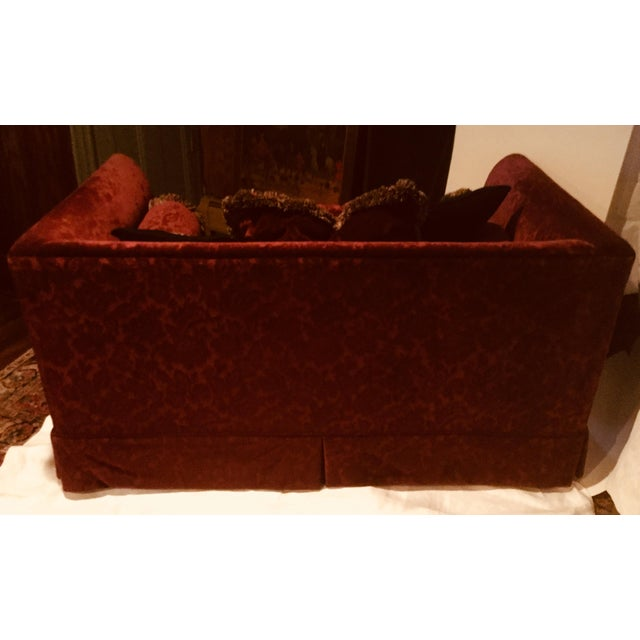 1990s Vintage Bordeaux Velvet Loveseat & Chair- A Pair For Sale - Image 4 of 10