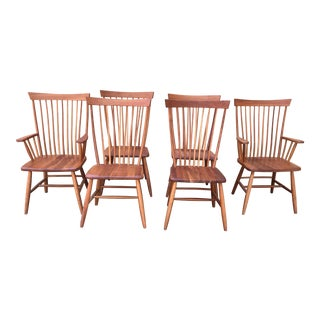 1980s Vintage Amish Style Cherry Dining Chairs- Set of 6 For Sale