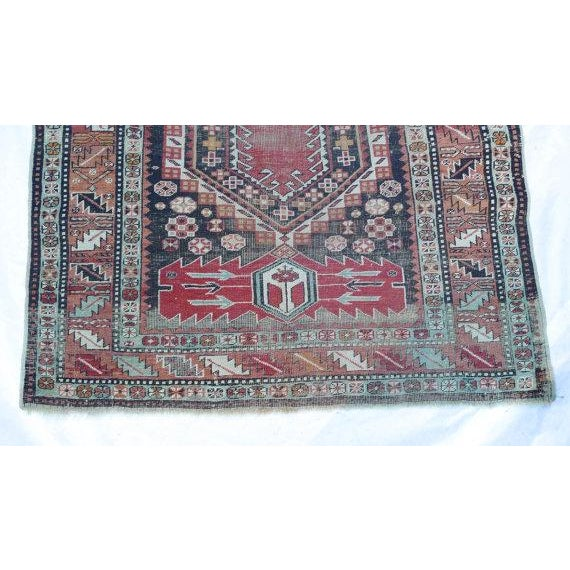 Antique Worn Geometric Tribal Rug - 3′6″ × 5′10″ - Image 6 of 6