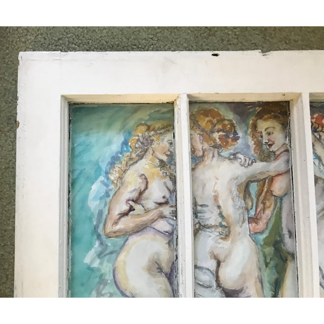 'The Three Graces' Original Watercolor Painted Framed Windows - Set of 3 For Sale - Image 9 of 13