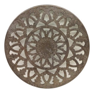 Hand Carved Silver Plate & Glass Trivet