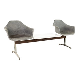 Eames Style Burke Mid Century Fiberglass Chair Two Seater Table Bench For Sale