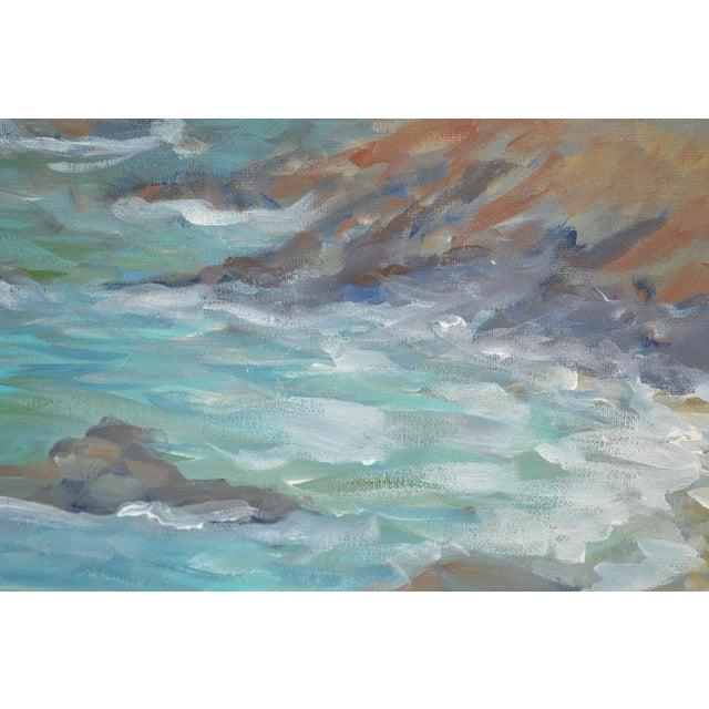 2010s Coastline Impressionist Acrylic Painting For Sale - Image 5 of 6