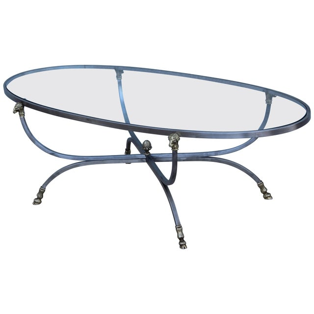 Steel and Brass Rams Head Oval Italian Coffee Table For Sale - Image 13 of 13